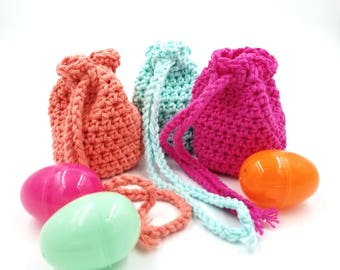 Crocheted Pouch, Crocheted Bag, Dice Bag, Trinket Bag, Jewelry Bag, Crystal Bag, Crystal Pouch, Gift Bag, Coin Purse, Treasure Bag, Easter