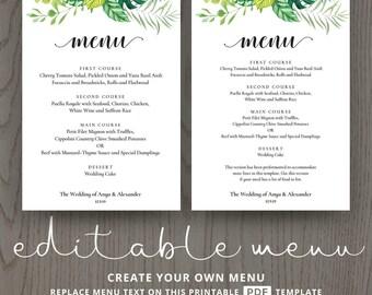 Garden wedding menu, outdoor summer greenery party brunch green foliage leaves enchanted card reception, editable template, PDF DIGITAL