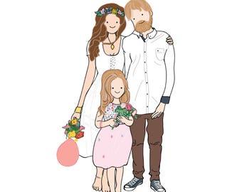 Custom portrait illustration, custom family portrait, custom illustration, personalized gift, wedding gift, Christmas gift, Christmas Card