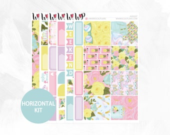 August Horizontal Kit - Matte Glossy Erin Condren Horizontal Planner Stickers