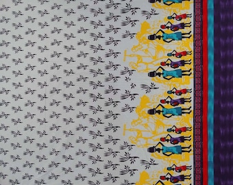 "Decorative Tribal Print Fabric, White Fabric, Sewing Material, Dress Fabric, 41"" Inch Cotton Fabric By The Yard ZBC5649"
