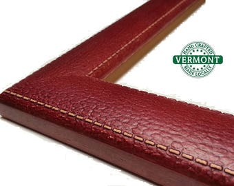 Red, White, Tan LEATHER Picture Frame, Photo Frame, 4x6, 5x7, 8x10, 11x14,16x20 White Picture Frames, Red Picture Frame, Brown Photo Frame