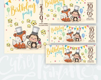 Birthday Baby Invitation Template • Birthday party flyer • Facebook cover / event / post image • Instant Download PSD layered file