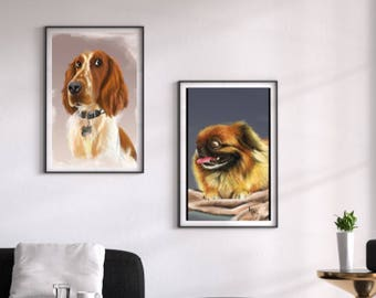 Custom Pet Portrait or Caricature - dog's, cat's.. chicken's - all animals welcome!