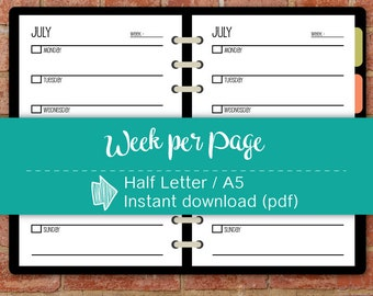 Undated 12 Months Week per page Printable Planner, Monday Start, A5 Planner, Half Letter inserts, Weekly planner #half012