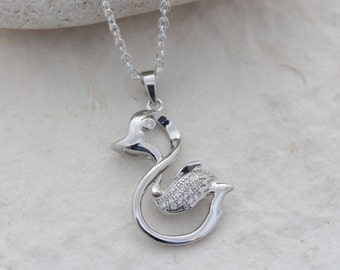 Sterling silver duck necklace, silver duckling necklace, duck jewelry, duckling jewelry. Choose your chain
