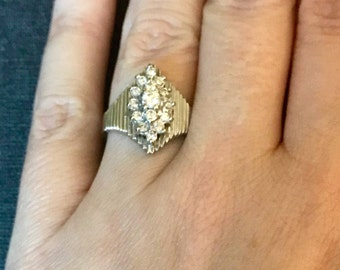 MARCH SALE! Gorgeous Estate Vintage Marquise 14K white gold and diamond cluster ring approx 1.5 Carat TW