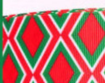 """1.5"""" Christmas Diamond Argyle Collar with Side Release Buckle (Martingale Option)"""