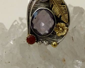 Abstract Amethyst and Carnelian Ring Size 9