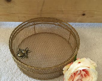 Brass Wire Storage Box with Brass Bumble Bee Embellishment