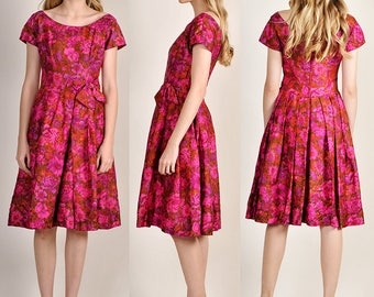 vintage 1950's SUZY PERETTE  pink floral dress       H8