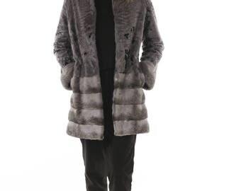 Luxury gift / Grey Persian LAMB With Mink  fur coat / Fur jacket Full skin Tera