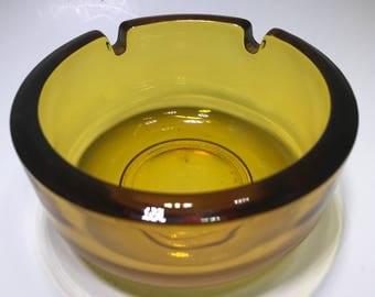 Amber Glass Ashtray Dual Holder Thick Glass
