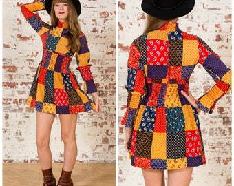 70s Patchwork Print Mini Dress / Size 6-8