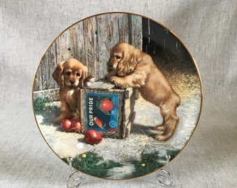Vintage Playful Puppies Porcelain Collectors Plate, Double Take by Jim Shore, Puppy Playtime Collection, River Shore