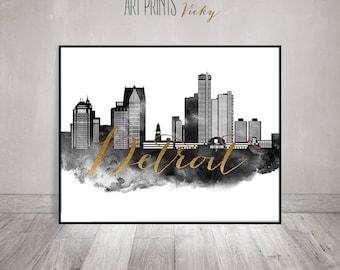 Detroit skyline art, black and white print, watercolor poster, Travel, Wall art, Michigan, faux gold text, home decor, gift, ArtPrintsVicky.