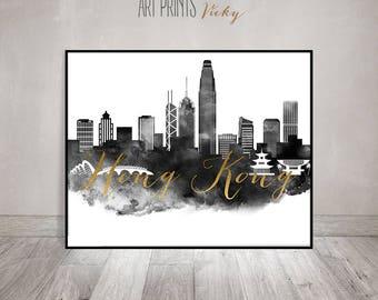 Hong Kong art print, watercolor black and white poster, Wall art, Travel, Hong Kong skyline, Gift, faux gold, ArtPrintsVicky