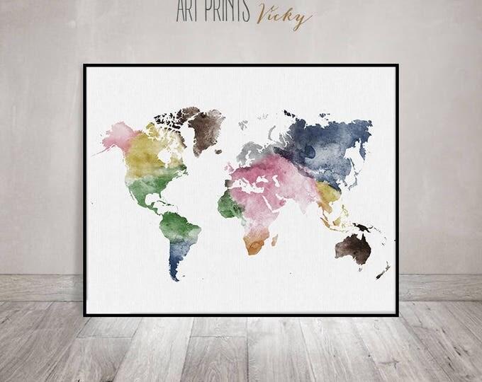 world map watercolour poster   ArtPrintsVicky.com