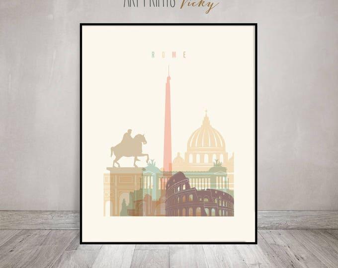 Rome print, Poster, Wall art, Italy cityscape, Rome skyline, City poster, Typography art, Gift, Home Decor Digital Print, ArtPrintsVicky