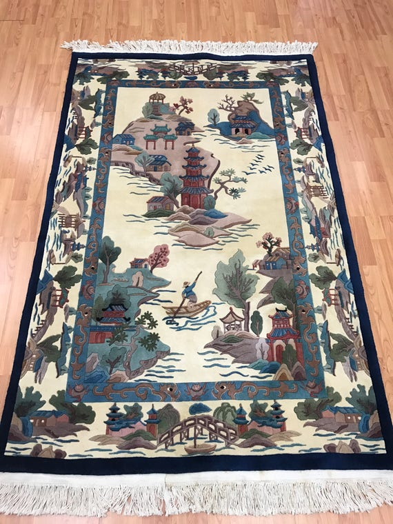 "4' x 6'2"" Chinese Art Deco Oriental Rug - Fine - 120 Line - Hand Made - 100% Wool"