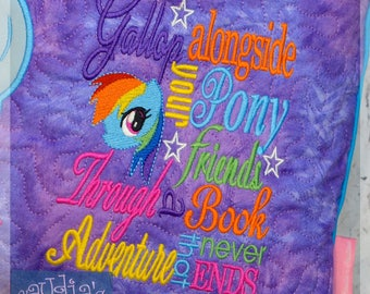 Colorful Horse Subway Embroidery Saying, Pony Pillow Saying, Pony Reading Pillow, Pony Cushion Saying