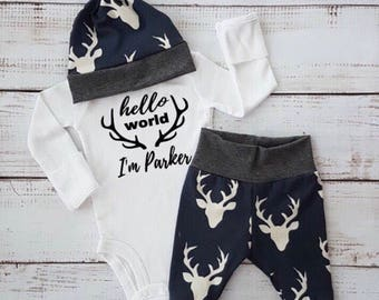newborn baby boy coming home outfit baby boy going home outfit navy buck leggings buck baby boy outfit hunting baby outfit hunting theme