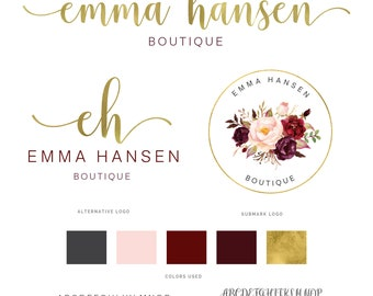 Watercolor Logo, Logo, Logo Design, Floral Logo, Custom logo, Photography logo, Premade Logo, Branding Package, Stamp, Watermark Logo