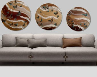 Original 3 piece (Set of 3) abstract oil painting, gold-brown-pearl round canvas modern wall art, Large wall painting on canvas ,house decor