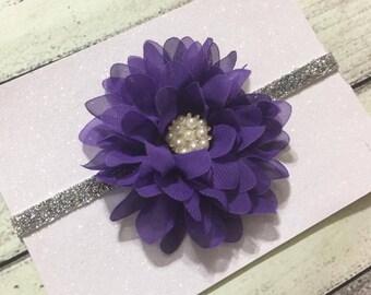 Purple Baby Headband ,Purple and silver Headband,Purple Flower Baby Headband,Purple Chiffon Flower Headband,Girls Headband ,Newborn Headband