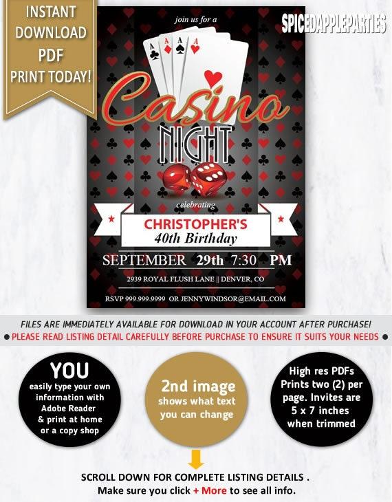 Casino Night 40th Birthday Party Invitation Casino Invitation