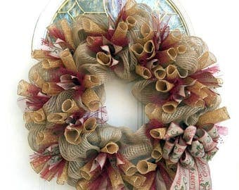 Christmas wreath - Christmas Wreath - Christmas Mesh Wreath - Christmas Wreath for front door -
