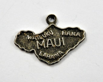 Map Outline of the Hawaiian Island of Maui Sterling Silver Charm of Pendant.