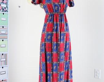 1970s Dress - Vintage Boho Check Maxi Dress - XS/S/M - Mexican - Red Blue - Ruffle Hem - Cotton - Cold Shoulder - Rickrack - Empire Waist