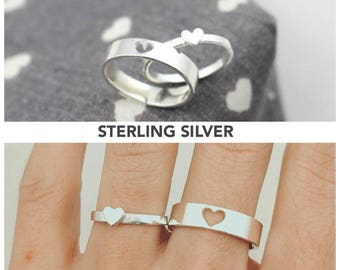 Couples Ring, His and Her Promise Rings, Promise Rings For Couples, Gift For Him, Couple Ring Set, Couples Jewelry, Heart Couple Ring, Gift