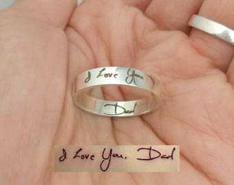 Handwriting Ring, Personalized Ring, Handwriting Jewelry, Custom Handwriting Ring, Stacking Ring, Memorial Signature Ring, Mom, Dad, Husband