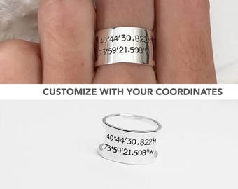 Coordinate Ring, Latitude Longitude Ring, Custom Coordinate Ring, Personalized Ring, Location Ring, GPS Ring, Long Distance Ring, LDR Gift
