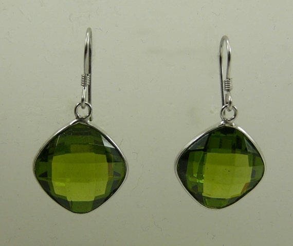 Green Quartz Earrings with Sterling Silver Setting