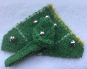 Up-cycled Argyle Pattern In Green Wool Brooch With Silver Beads