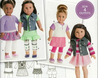 Simplicity 8041 American Girl 18 Inch Doll Clothes Tunic Tops Vest Leggings Skirts