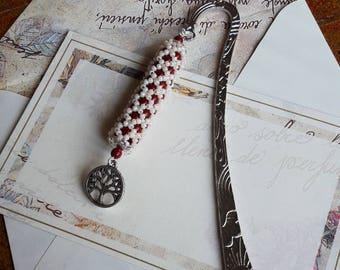 Red Coral Bookmark Beige//Metal bookmark waist Tree//Custom bookmark//Gift Idea