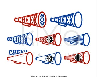 Cheer Megaphone SVG DXF PNG, Cheer Svg, Cheer Monogram frame svg files for Cricut Explore and Silhouette Cameo