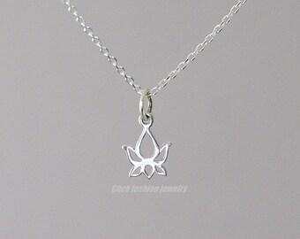 Lotus necklace, silver lotus pendant, sterling silver necklace, flower necklace, lotus jewelry, yoga jewelry, zen jewelry, girlfriend gift