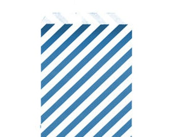 "Navy Blue Sweet Treat Bags// Large Diagonal Stripe Paper Bags// 6"" x 9"""