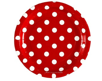"""PAPER PLATES - Red With White Polka  Dots - 7""""  Cake Plates"""