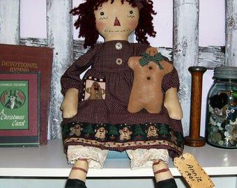 Primitive Raggedy Ann doll handmade Christmas Annie wih Gingerbread Man