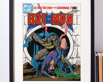DC Comics Wall Art - Batman and Catwoman Cover Print - Matted and Framed