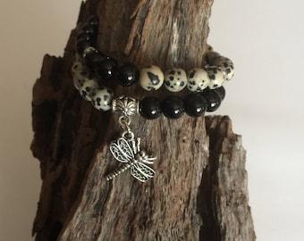 Stacking beaded bracelet set, Black Onyx Dalmatian Jasper bracelet, Yoga bracelet, Stretch gemstone bracelet, Stacking gemston bracelet
