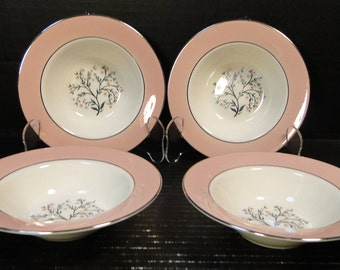 "FOUR Homer Laughlin Cavalier Springtime Berry Bowls 6""  CV32 Pink Set of 4 EXCELLENT!"