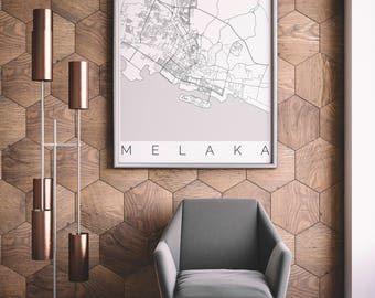 Map of Melaka, Malaysia - Fits IKEA frame - Home Decor - Malacca Poster - Wanderlust - Travel Map - Housewarming Gift - Long Distance Love