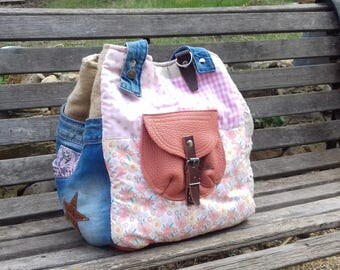 Patchwork and leather tote bag